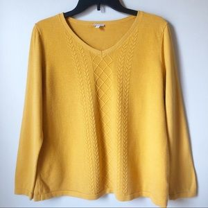 Talbots | Mustard V- Neck Cable Sweater
